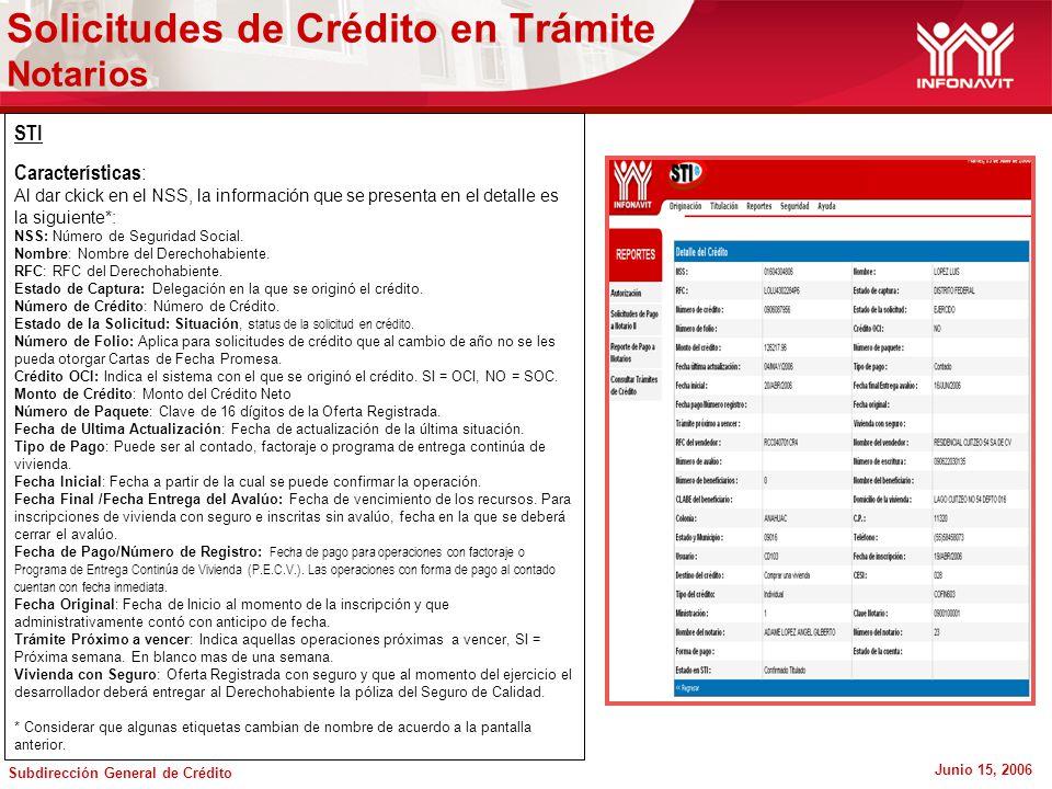 Subdirección General de Crédito Junio 15, 2006 Solicitudes de Crédito en Trámite Notarios STI Características : Al dar ckick en el NSS, la información que se presenta en el detalle es la siguiente*: NSS: Número de Seguridad Social.