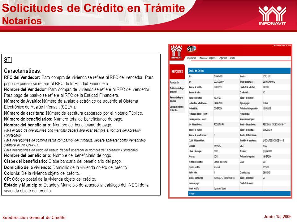 Subdirección General de Crédito Junio 15, 2006 Solicitudes de Crédito en Trámite Notarios STI Características : RFC del Vendedor: Para compra de vivienda se refiere al RFC del vendedor.