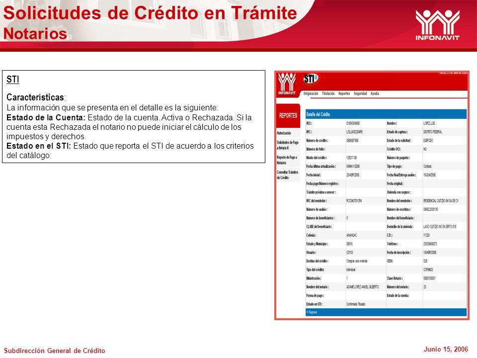 Subdirección General de Crédito Junio 15, 2006 Solicitudes de Crédito en Trámite Notarios STI Características : La información que se presenta en el detalle es la siguiente: Estado de la Cuenta: Estado de la cuenta.