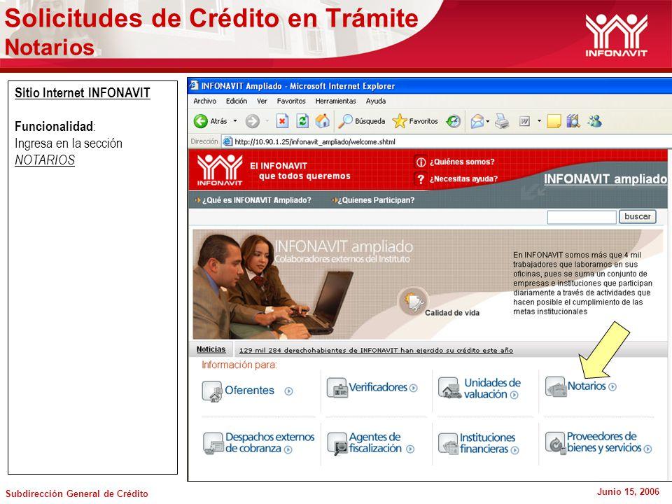 Subdirección General de Crédito Junio 15, 2006 Sitio Internet INFONAVIT Funcionalidad : Ingresa en la sección NOTARIOS Solicitudes de Crédito en Trámite Notarios
