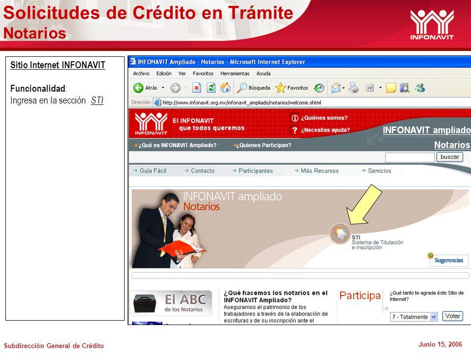 Subdirección General de Crédito Junio 15, 2006 Sitio Internet INFONAVIT Funcionalidad : Ingresa en la sección STI Solicitudes de Crédito en Trámite Notarios