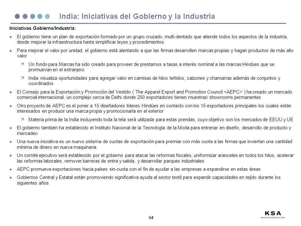 64 India: Iniciativas del Gobierno y la Industria Iniciativas Gobierno/Industria: l El gobierno tiene un plan de exportación formado por un grupo cruz