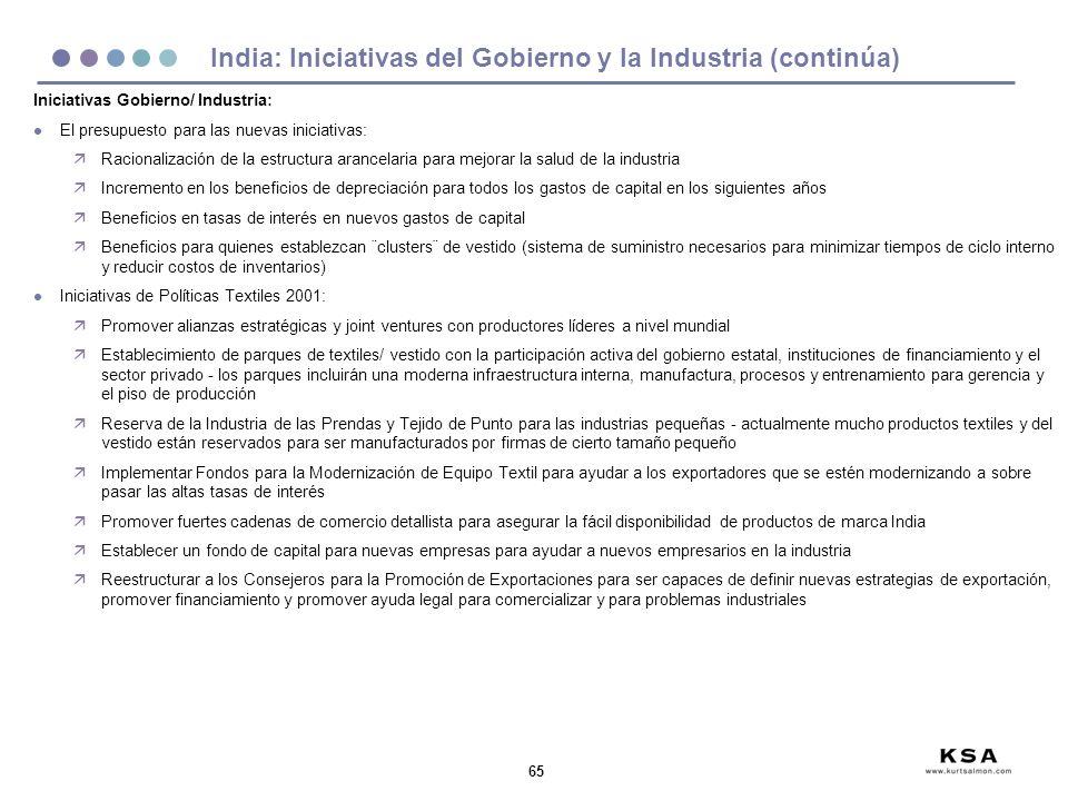 65 India: Iniciativas del Gobierno y la Industria (continúa) Iniciativas Gobierno/ Industria: l El presupuesto para las nuevas iniciativas: äRacionali