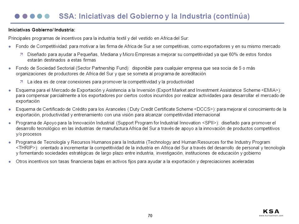 70 SSA: Iniciativas del Gobierno y la Industria (continúa) Iniciativas Gobierno/ Industria: Principales programas de incentivos para la industria text