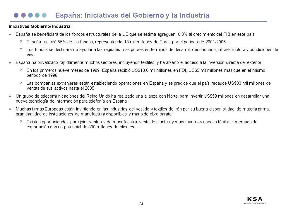 72 España: Iniciativas del Gobierno y la Industria Iniciativas Gobierno/ Industria: l España se beneficiará de los fondos estructurales de la UE que s