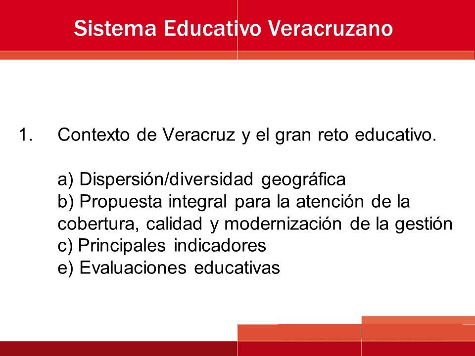 1.Contexto de Veracruz y el gran reto educativo. a) Dispersión/diversidad geográfica b) Propuesta integral para la atención de la cobertura, calidad y
