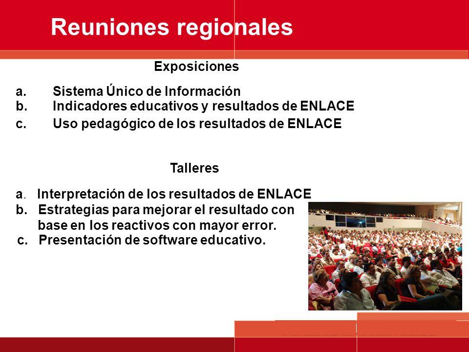 Reuniones regionales a.Sistema Único de Información b.Indicadores educativos y resultados de ENLACE c.Uso pedagógico de los resultados de ENLACE Expos
