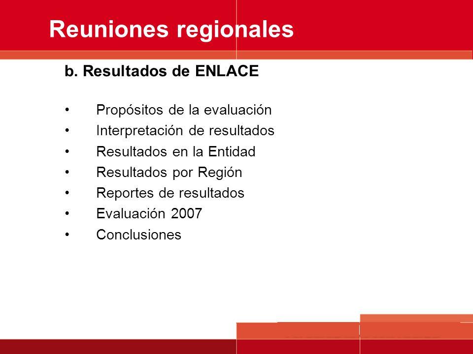 b. Resultados de ENLACE Propósitos de la evaluación Interpretación de resultados Resultados en la Entidad Resultados por Región Reportes de resultados