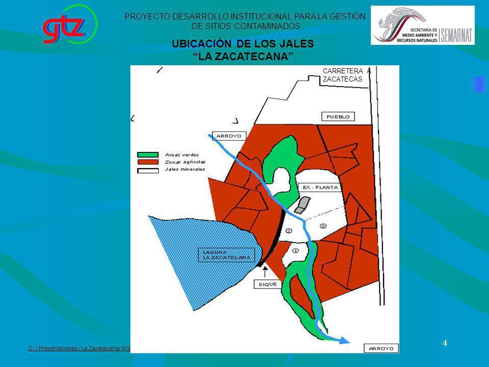 4 UBICACIÓN DE LOS JALES LA ZACATECANA PROYECTO DESARROLLO INSTITUCIONAL PARA LA GESTIÓN DE SITIOS CONTAMINADOS C: / Presentaciones / La Zacatecana/ W