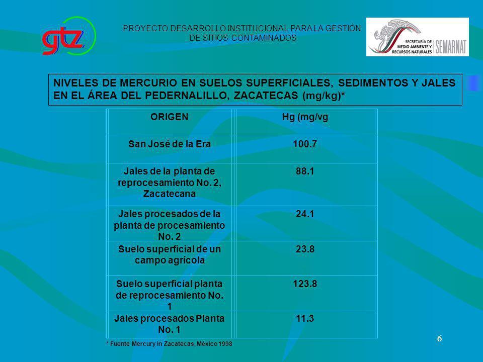 6 NIVELES DE MERCURIO EN SUELOS SUPERFICIALES, SEDIMENTOS Y JALES EN EL ÁREA DEL PEDERNALILLO, ZACATECAS (mg/kg)* ORIGENHg (mg/vg San José de la Era10