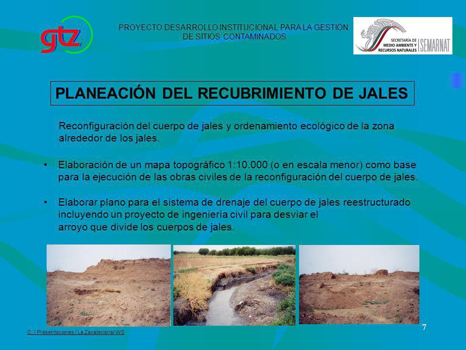 7 PLANEACIÓN DEL RECUBRIMIENTO DE JALES Reconfiguración del cuerpo de jales y ordenamiento ecológico de la zona alrededor de los jales. Elaboración de