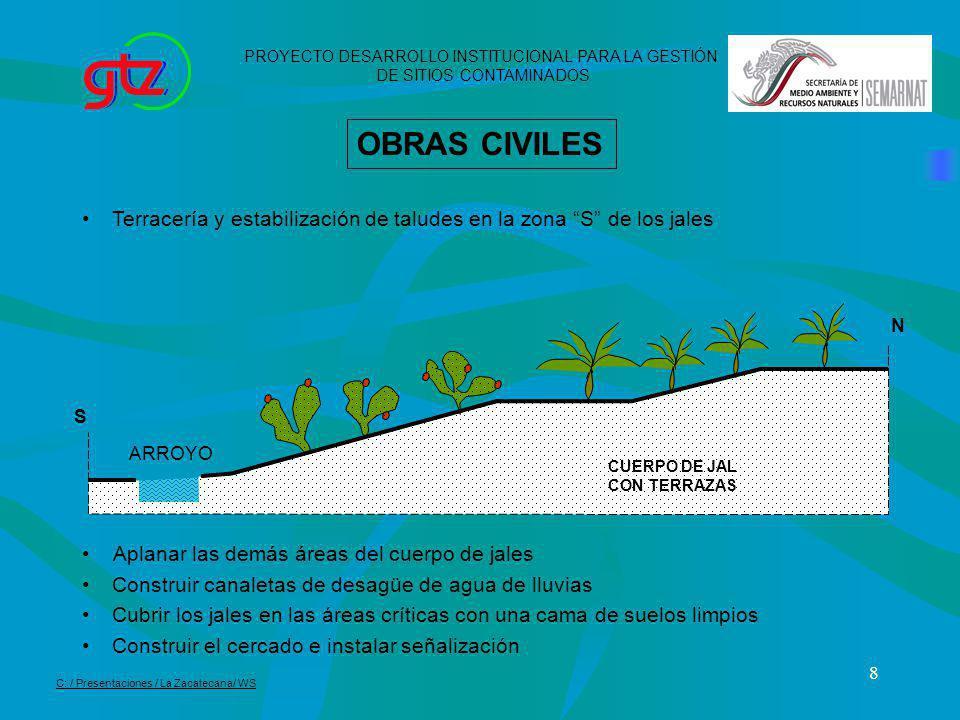 8 OBRAS CIVILES Terracería y estabilización de taludes en la zona S de los jales Aplanar las demás áreas del cuerpo de jales Construir canaletas de de
