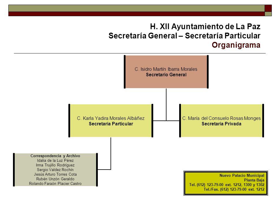 H. XII Ayuntamiento de La Paz Secretaría General – Secretaría Particular Organigrama C. Isidro Martín Ibarra Morales Secretario General C. Karla Yadir