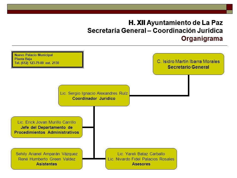 H. XII Ayuntamiento de La Paz Secretaría General – Coordinación Jurídica Organigrama C. Isidro Martín Ibarra Morales Secretario General Lic. Sergio Ig