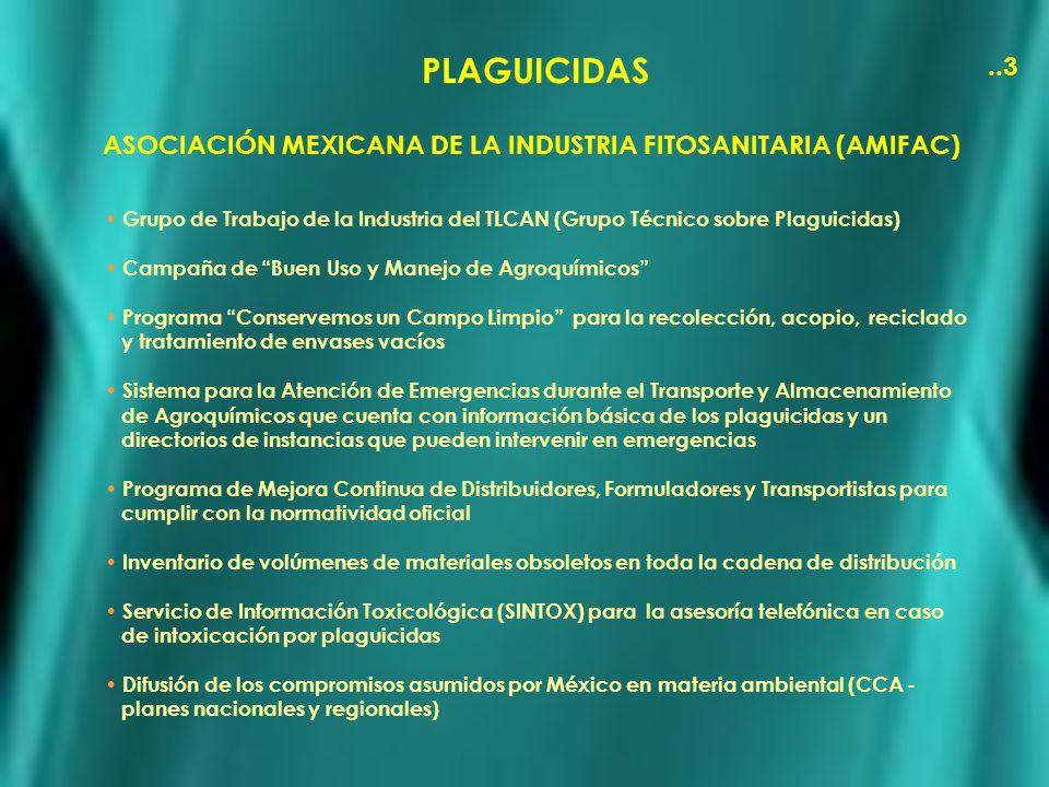 PLAGUICIDAS..3 ASOCIACIÓN MEXICANA DE LA INDUSTRIA FITOSANITARIA (AMIFAC) Grupo de Trabajo de la Industria del TLCAN (Grupo Técnico sobre Plaguicidas)