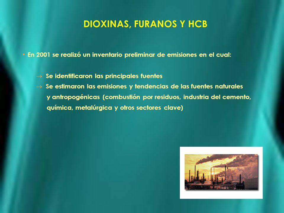 DIOXINAS, FURANOS Y HCB En 2001 se realizó un inventario preliminar de emisiones en el cual: Se identificaron las principales fuentes Se estimaron las