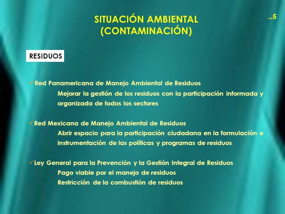SITUACIÓN AMBIENTAL (CONTAMINACIÓN)..5 RESIDUOS Red Panamericana de Manejo Ambiental de Residuos Mejorar la gestión de los residuos con la participaci