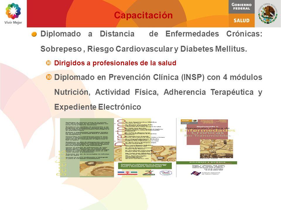 Hemoglobina Glucosilada < 7 (Hb A1c) Menor de 140 / 90 mmHg Abandono del hábito Menor de 130mg/dl Mayor de 40mg/dl Menor de 200 mg-dl Menor de 150 mgr-dl Enfermedades Crónicas No Transmisibles Diabetes Hipertensión Arterial Tabaquismo Colesterol LDL Colesterol HDL Colesterol Total Triglicéridos 50% 60% 30% 60% 30% 60% 50% Metas Factores de Medición Metas de Impacto: Logros a 1 año