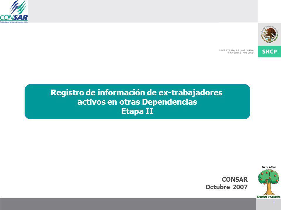 1 CONSAR Octubre 2007 Integración de la Junta de Gobierno Mayo 2007 Registro de información de ex-trabajadores activos en otras Dependencias Etapa II