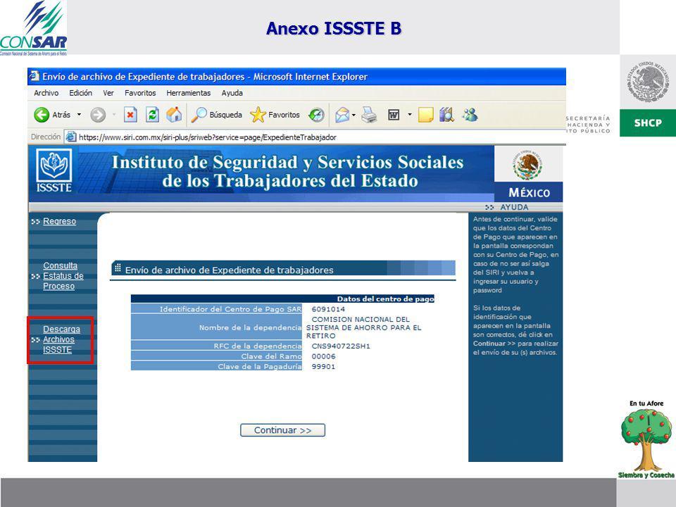 Recuperación de Archivos a través del SIRI Expediente Anexo ISSSTE B Rechazos Notificados por ISSSTE Expediente Anexo ISSSTE A Archivo BDUTA Anexo ISSSTE B
