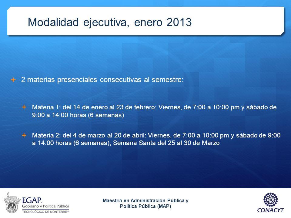 Modalidad ejecutiva, enero 2013 2 materias presenciales consecutivas al semestre: Materia 1: del 14 de enero al 23 de febrero: Viernes, de 7:00 a 10:0
