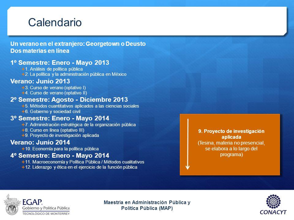 Calendario 1º Semestre: Enero - Mayo 2013 1. Análisis de política pública 2. La política y la administración pública en México Verano: Junio 2013 3. C
