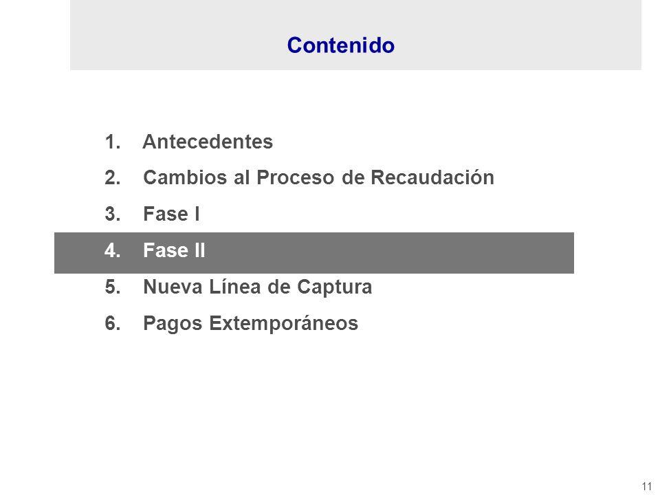 11 1. Antecedentes 2. Cambios al Proceso de Recaudación 3. Fase I 4. Fase II 5. Nueva Línea de Captura 6. Pagos Extemporáneos Contenido