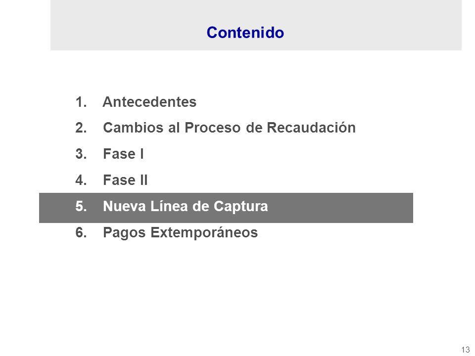 13 1. Antecedentes 2. Cambios al Proceso de Recaudación 3. Fase I 4. Fase II 5. Nueva Línea de Captura 6. Pagos Extemporáneos Contenido