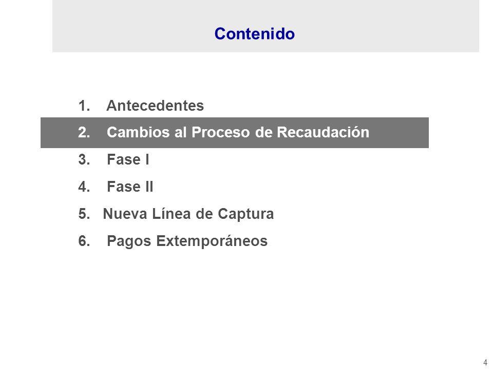 4 1. Antecedentes 2. Cambios al Proceso de Recaudación 3. Fase I 4. Fase II 5.Nueva Línea de Captura 6. Pagos Extemporáneos Contenido