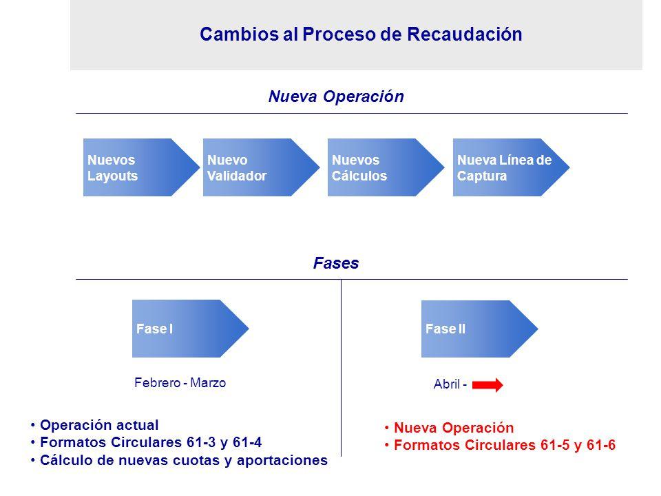 Cambios al Proceso de Recaudación Nuevo Validador Nuevos Layouts Nuevos Cálculos Nueva Línea de Captura Nueva Operación Fases Fase II Fase I Febrero -