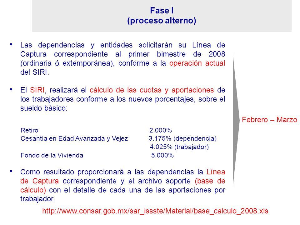 Febrero – Marzo Fase I (proceso alterno) Las dependencias y entidades solicitarán su Línea de Captura correspondiente al primer bimestre de 2008 (ordi