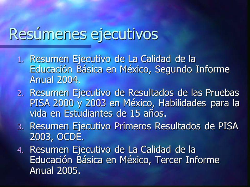 Resúmenes ejecutivos 1. Resumen Ejecutivo de La Calidad de la Educación Básica en México, Segundo Informe Anual 2004. 2. Resumen Ejecutivo de Resultad