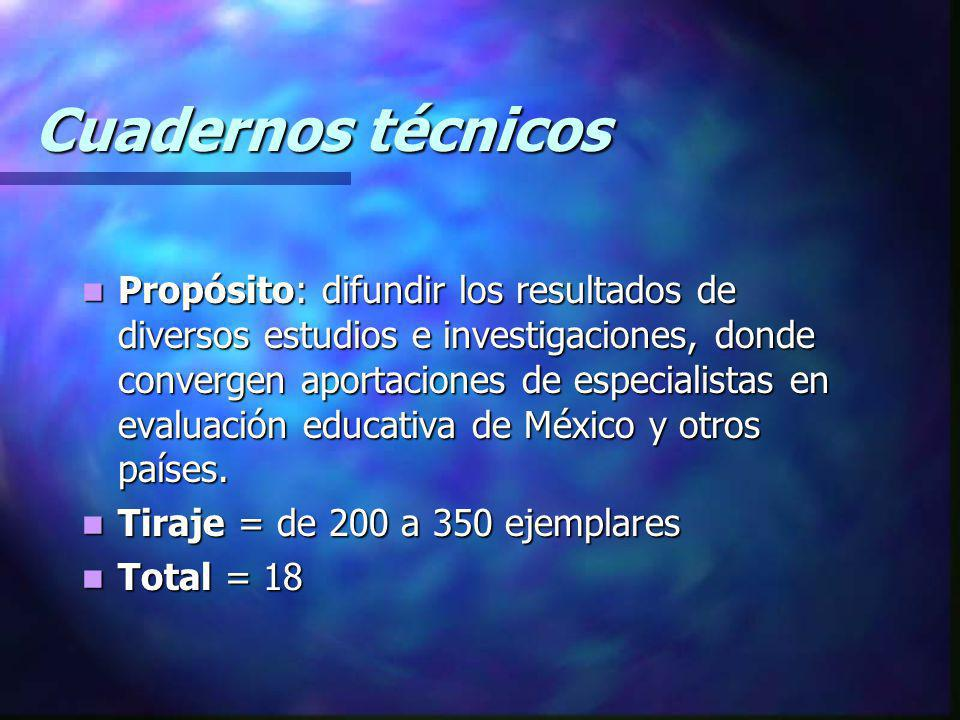 Cuadernos técnicos Propósito: difundir los resultados de diversos estudios e investigaciones, donde convergen aportaciones de especialistas en evaluac