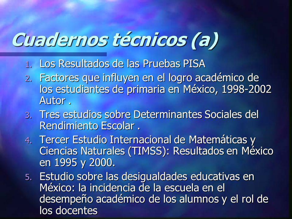 Cuadernos técnicos (a) 1. Los Resultados de las Pruebas PISA 2. Factores que influyen en el logro académico de los estudiantes de primaria en México,