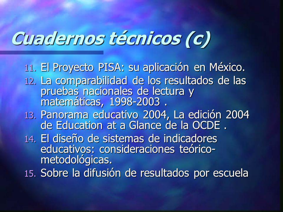 Cuadernos técnicos (c) 11. El Proyecto PISA: su aplicación en México. 12. La comparabilidad de los resultados de las pruebas nacionales de lectura y m