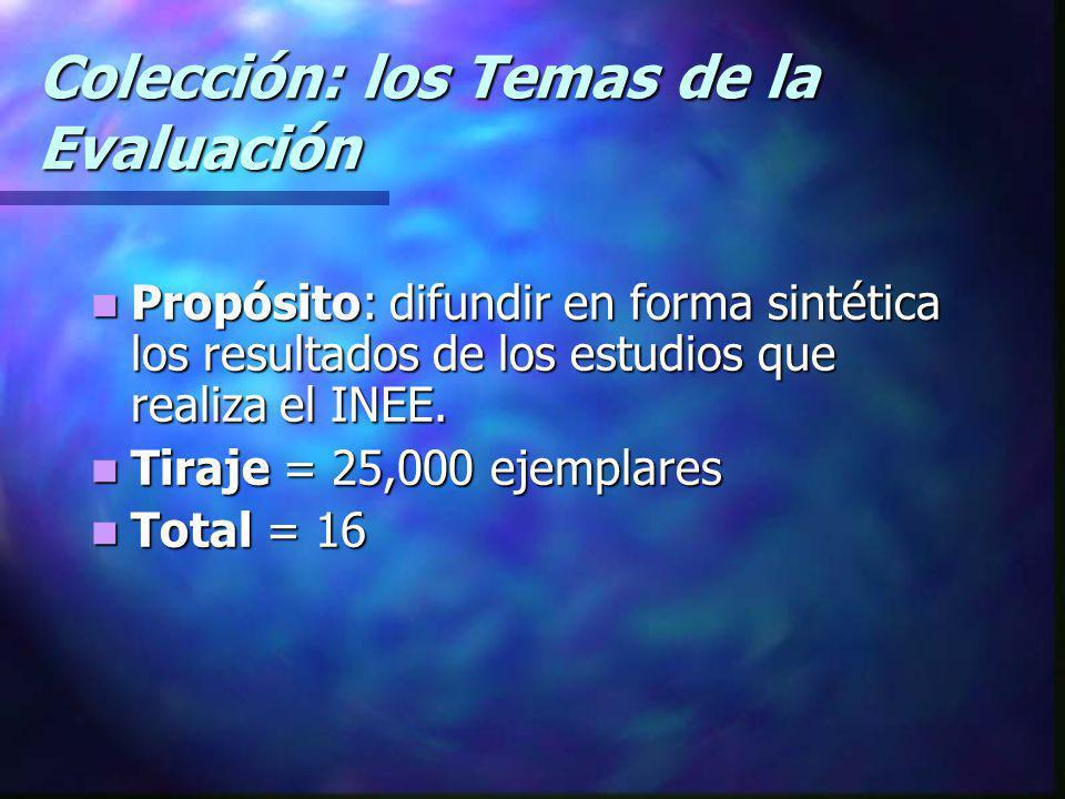 Colección: los Temas de la Evaluación Propósito: difundir en forma sintética los resultados de los estudios que realiza el INEE. Propósito: difundir e