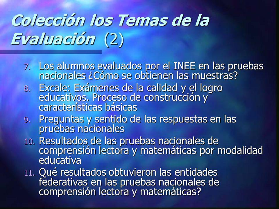 Colección los Temas de la Evaluación (2) 7. Los alumnos evaluados por el INEE en las pruebas nacionales ¿Cómo se obtienen las muestras? 8. Excale: Exá