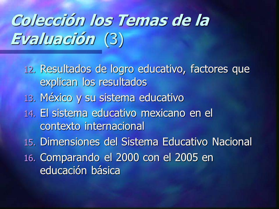 Colección los Temas de la Evaluación (3) 12. Resultados de logro educativo, factores que explican los resultados 13. México y su sistema educativo 14.