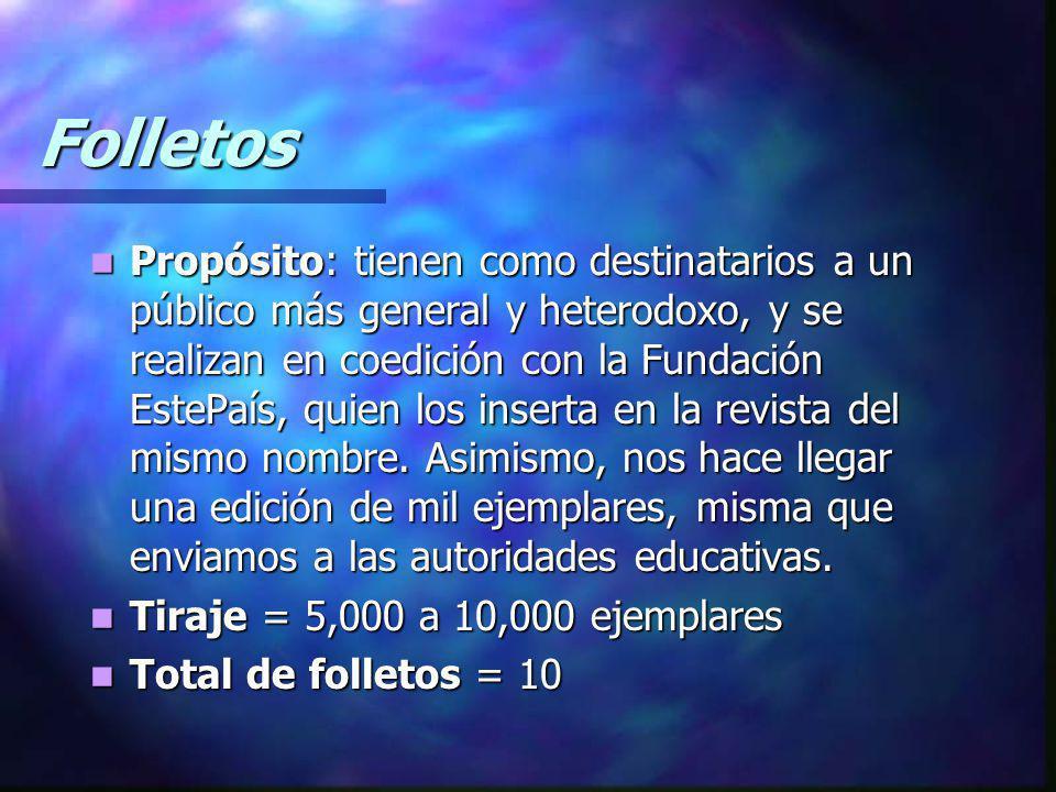 Folletos Propósito: tienen como destinatarios a un público más general y heterodoxo, y se realizan en coedición con la Fundación EstePaís, quien los inserta en la revista del mismo nombre.