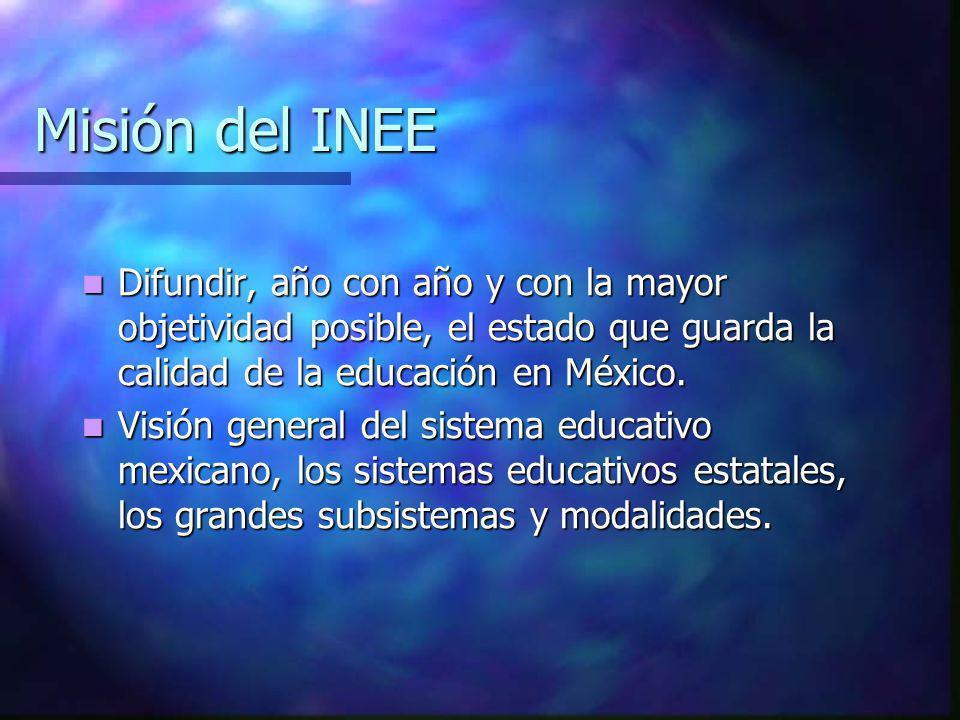 Misión del INEE Difundir, año con año y con la mayor objetividad posible, el estado que guarda la calidad de la educación en México. Difundir, año con