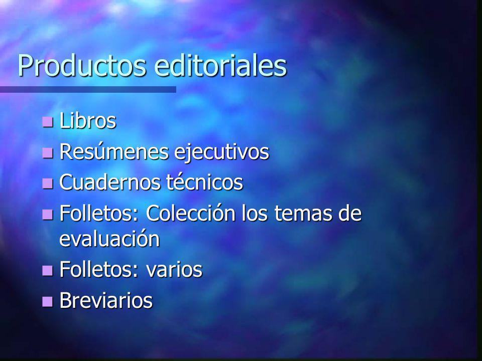 Libros Propósito: informar al público sobre: Resultados de aprendizaje nacionales e internacionales; Indicadores del SEN; Opinión de expertos, Políticas de evaluación educativa, entre otros temas.