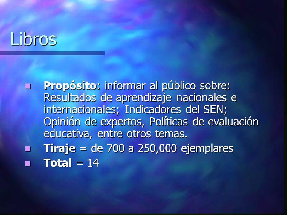 Libros Propósito: informar al público sobre: Resultados de aprendizaje nacionales e internacionales; Indicadores del SEN; Opinión de expertos, Polític