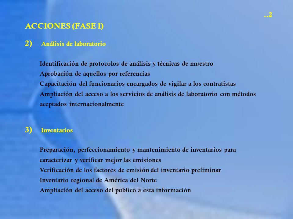 ACCIONES (FASE I) 2) Análisis de laboratorio Identificación de protocolos de análisis y técnicas de muestro Aprobación de aquellos por referencias Cap