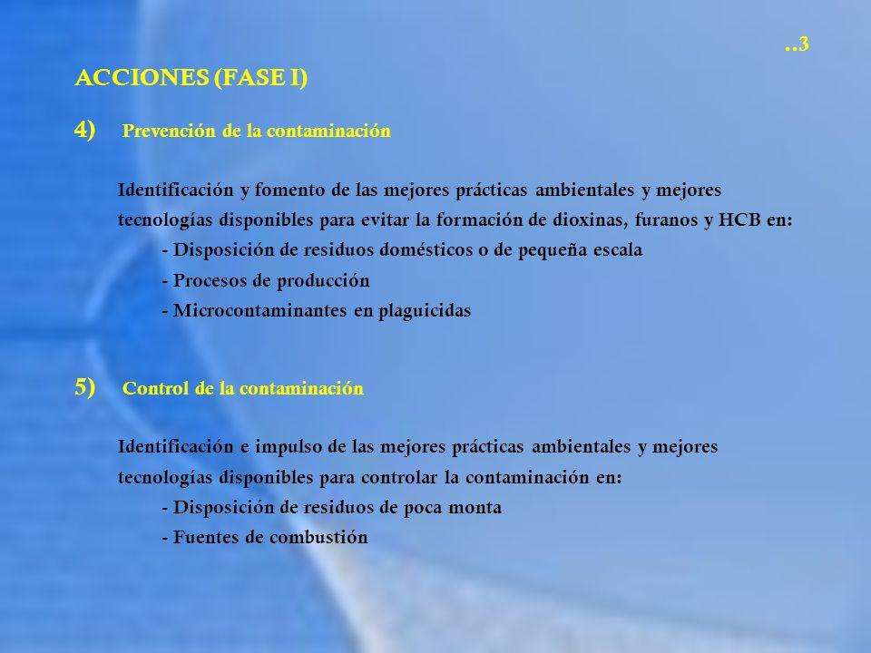 ACCIONES (FASE I) 6) Opciones de política y manejo Educación de la ciudadanía con relación a las emisiones al ambiente de dioxinas, furanos y HCB (folletos y materiales educativos) Evaluación de las políticas públicas para reducir la exposición y prevenir la formación de dioxinas, furanos y HCB (taller CCA)..4 7) Recursos financieros Acercamiento con instituciones financieras internacionales para iniciar este plan