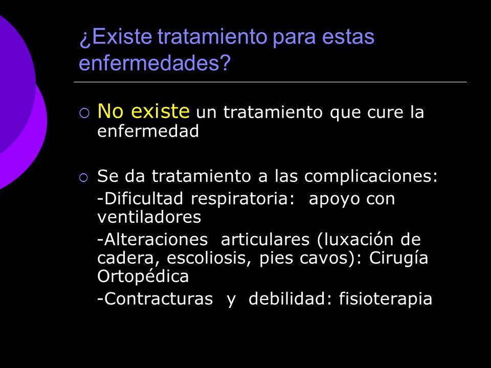 ¿Existe tratamiento para estas enfermedades? No existe un tratamiento que cure la enfermedad Se da tratamiento a las complicaciones: -Dificultad respi