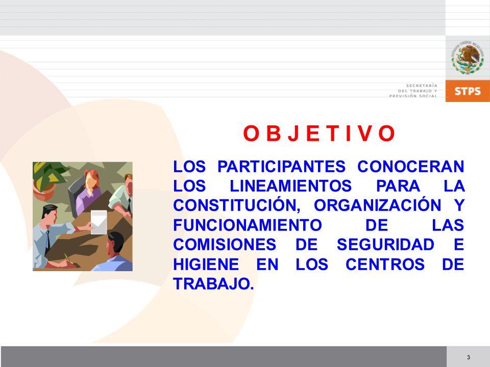 3 O B J E T I V O LOS PARTICIPANTES CONOCERAN LOS LINEAMIENTOS PARA LA CONSTITUCIÓN, ORGANIZACIÓN Y FUNCIONAMIENTO DE LAS COMISIONES DE SEGURIDAD E HIGIENE EN LOS CENTROS DE TRABAJO.