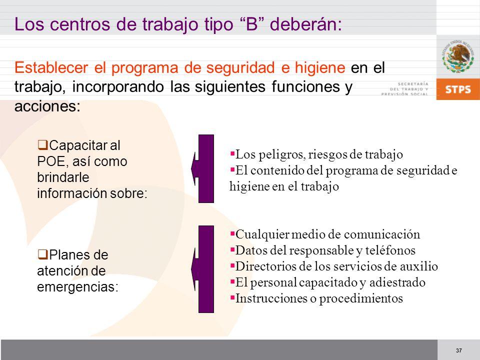 37 Los centros de trabajo tipo B deberán: Establecer el programa de seguridad e higiene en el trabajo, incorporando las siguientes funciones y accione