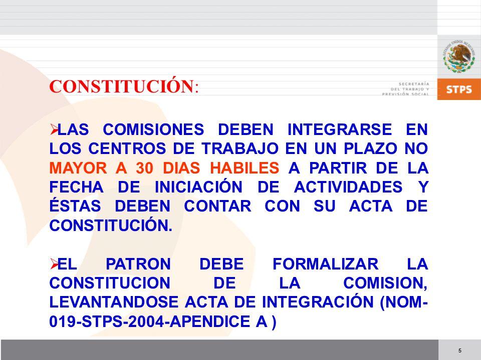 5 CONSTITUCIÓN: LAS COMISIONES DEBEN INTEGRARSE EN LOS CENTROS DE TRABAJO EN UN PLAZO NO MAYOR A 30 DIAS HABILES A PARTIR DE LA FECHA DE INICIACIÓN DE ACTIVIDADES Y ÉSTAS DEBEN CONTAR CON SU ACTA DE CONSTITUCIÓN.