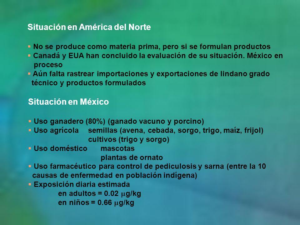 Situación en América del Norte No se produce como materia prima, pero si se formulan productos Canadá y EUA han concluido la evaluación de su situació