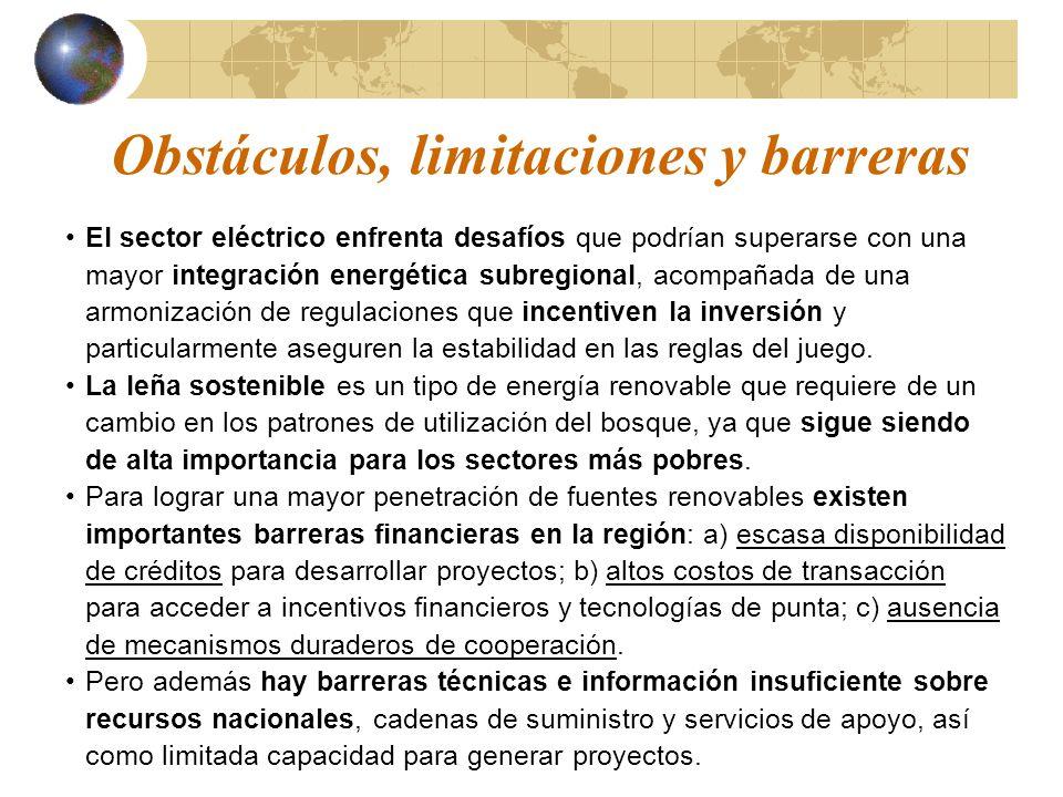 Obstáculos, limitaciones y barreras El sector eléctrico enfrenta desafíos que podrían superarse con una mayor integración energética subregional, acom